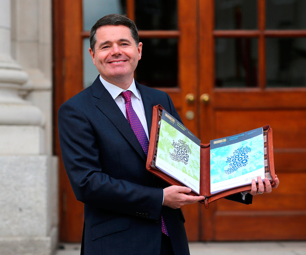 Minister for Finance Paschal Donohoe with Budget 2018. Photo: INM