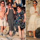 Michael Fassbender with his family, left, and Alicia Vikander, right, in Ibiza