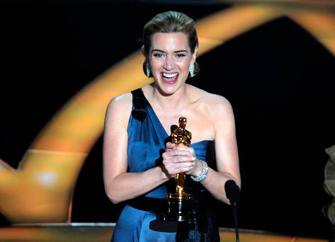 Winner of the Best Actress award Kate Winslet reacts at the 81st Academy Awards at the Kodak Theater in Hollywood, California on February 22, 2009
