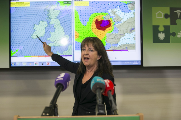 Met Eireann forecaster Evelyn Cusack gives a briefing an Ophelia. Photo: Mark Condren