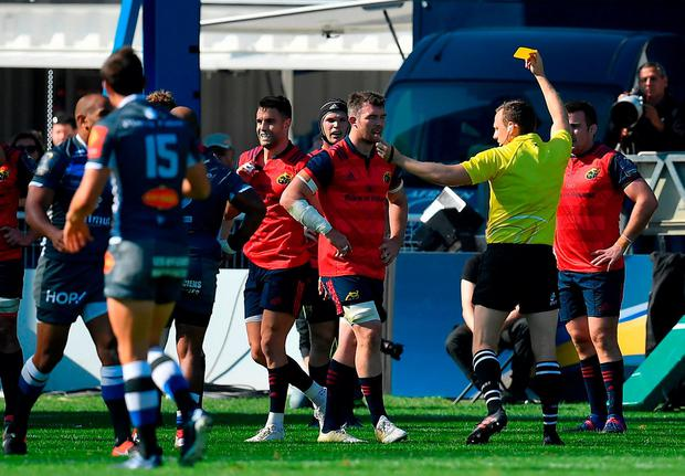 Conor Murray of Munster is shown a yellow card by referee Matthew Carley during the European Rugby Champions Cup Pool 4 Round 1 match between Castres Olympique and Munster at Stade Pierre Antoine in Castres, France. Photo by Brendan Moran/Sportsfile