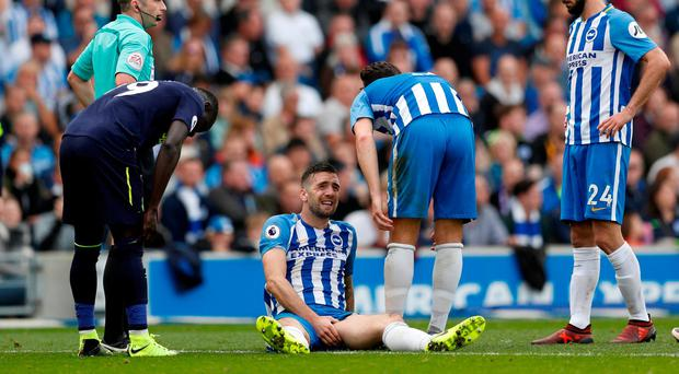 Brighton's Shane Duffy grasps his injured groin