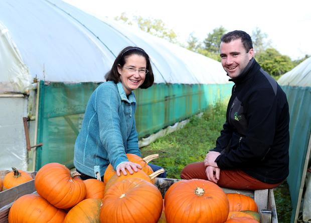 Pumpkin grower, Denise Buckley with Chris Stafford, Category Manager at Keelings. SuperValu.