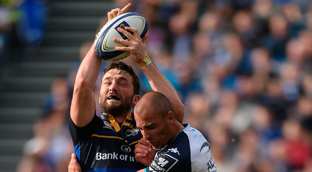 Barry Daly of Leinster makes a terrific catch ahead of Montpellier's Ruan Pienaar. Photo: Matt Browne/Sportsfile