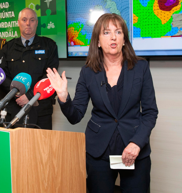 Met Eireann's Evelyn Cusack briefs the media about Ophelia. Photo: Collins Dublin, Gareth Chaney