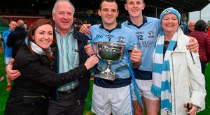 15 October 2017; Brothers Alan Dempsey and David Dempsey of Na Piarsaigh celebrate with their sister Jennifer, father Ger, and mother Jean, after the Limerick County Senior Hurling Championship Final match between Na Piarsaigh and Kilmallock at the Gaelic Grounds in Limerick. Photo by Diarmuid Greene/Sportsfile