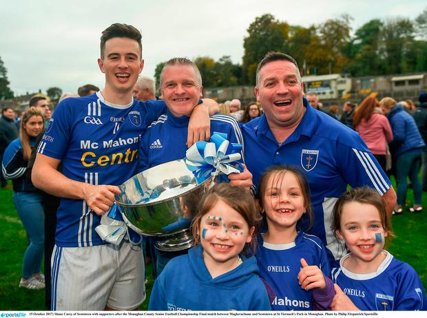 Shane Carey of Scotstown with supporters after the Monaghan County Senior Football Championship Final match between Magheracloone and Scotstown at St Tiernach's Park in Monaghan. Photo by Philip Fitzpatrick/Sportsfile