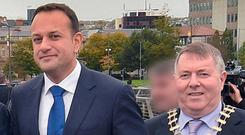 Leo Varadkar and mayor Gerry McMonagle in Derry. Photo: Trevor McBride