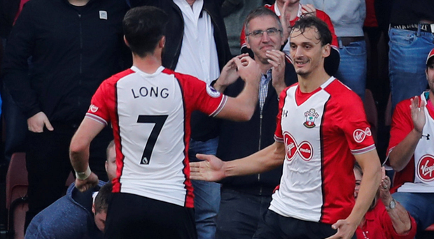 Southampton's Manolo Gabbiadini celebrates his second goal with Shane Long. Photo: Reuters