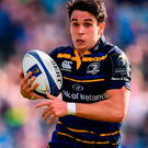Joey Carbery of Leinster on his way to scoring his side's first try during the match between against Montpellier. Photo: Stephen McCarthy/Sportsfile