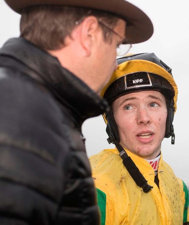 Colin Keane after securing his treble at Naas yesterday on Mustajeer. Photo: racingpost.com