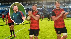 Munster captain Peter O'Mahony and Mark Flanagan and (inset) Anthony Foley