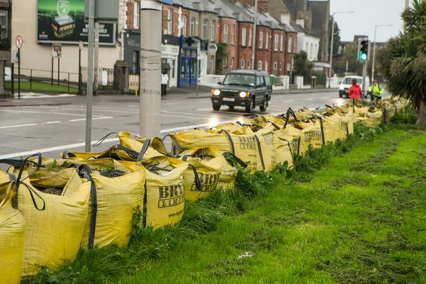 Sandbags at the ready in Clontarf this morning for Storm Ophelia