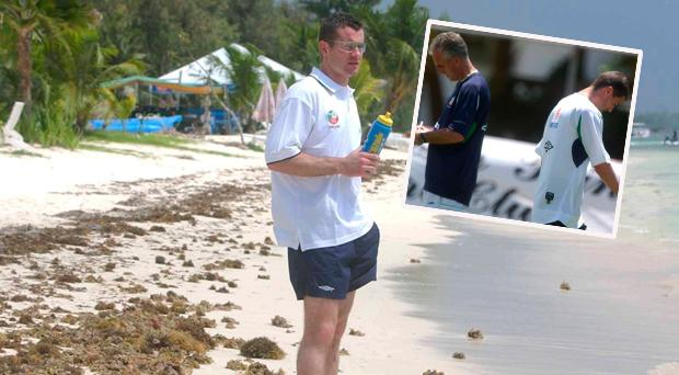 Shay Given in Saipan and (inset) Keane and McCarthy before the 2002 World Cup