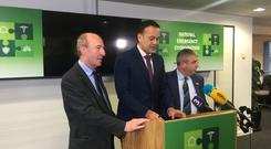 Taoiseach Leo Varadkar with Transport Minister Shane Ross and junior minister Kevin 'Boxer' Moran Photo: Kevin Doyle