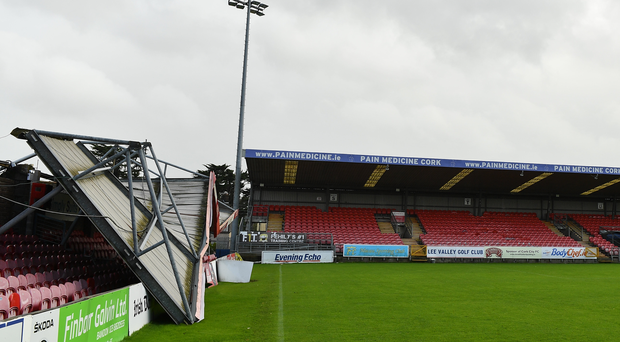 16 October 2017; Damage to the Derrynane Stand at Turners Cross Stadium, home of Cork City Football Club, due to Storm Ophelia. Photo by Eóin Noonan/Sportsfile