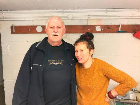 Timmy Flaherty, 72, from the Claddagh, Galway and Emer Cannon, Kiltullagh, Co Galway after swimming at Blackrock, Salthill, Galway, as Hurricane Ophelia hits the UK and Ireland with gusts of up to 80mph.