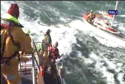 Volunteer lifeboat crew with Rosslare RNLI launched this morning during Storm Ophelia to rescue three men onboard a 10m yacht after they issued a Mayday