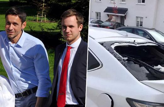 Patryk (22) in red tie, his father Marek (45) on left in blue shirt