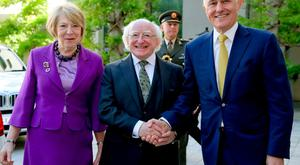 President Higgins meets Australian Prime Minister Malcolm Turnbull with his wife Sabina. Photo: Maxwells