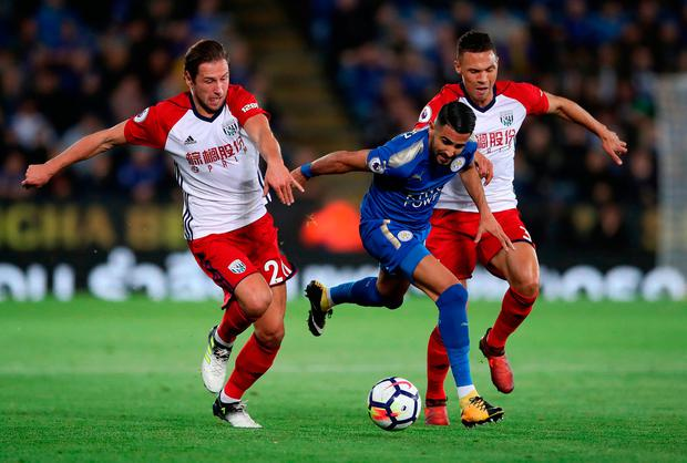Leicester City's Riyad Mahrez breaks through West Bromwich Albion's Grzegorz Krychowiak and Kieran Gibbs (right). Photo credit: Nick Potts/PA Wire.
