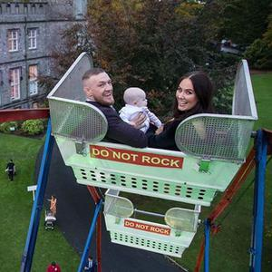 Conor McGregor and Dee Devlin at their son Conor Jr's christening party. Picture: Instagram