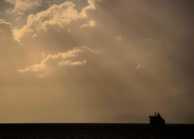 The MV Caledonia Isles heading towards Ardrossan as a weather front moving into Ardrossan where the last ferry to leave from the Isle of Arran arrived in port just after 3pm before services are stopped for the day. John Linton/PA Wire