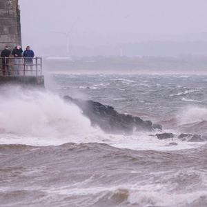 Saltcoats on the west coast of Scotland as Storm Ophelia hits Britain's west coast. John Linton/PA Wire