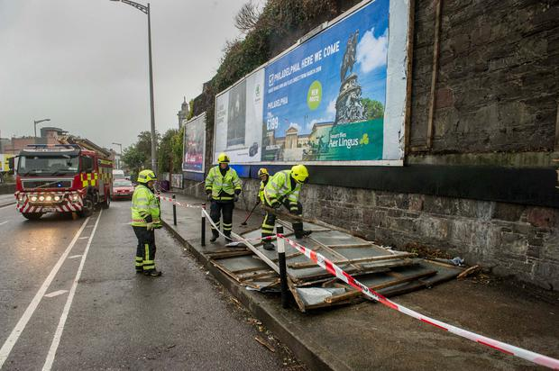 Advertising hoarding is ripped off during Storm Ophelia near Kent Station Cork city. Pic Daragh Mc Sweeney/Provision