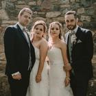 PA Real Life/Berit Alits. Tommy and Siobhan (L) and Mairead and Robert (R) on their wedding day