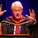 Former US president Bill Clinton receives an honorary doctorate from Dublin City University in Dublin. PRESS ASSOCIATION Photo Niall Carson/PA Wire
