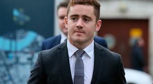 Ireland and Ulster rugby player Paddy Jackson arriving at Belfast's Laganside courts today Brian Lawless/PA Wire