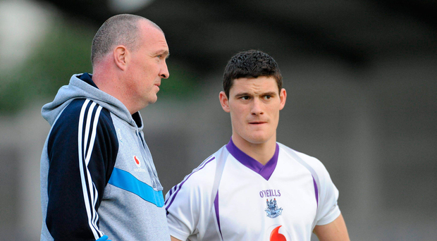 2 September 2011; Dublin manager Pat Gilroy in conversation with Diarmuid Connolly during a training session ahead of the GAA Football All-Ireland Senior Championship Final, on September 18th. Dublin Football Squad Training, Parnell Park, Dublin. Picture credit: Barry Cregg / SPORTSFILE