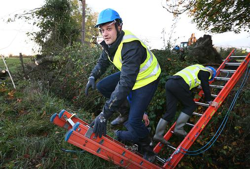 Taoiseach Leo Varadkar pictured as he traverses a ditch after he saw first hand the work of ESB network crews who were repairing damaged powerlines at Drumlara, between Kilcock and Summerhill Co Meath. Picture Credit : Frank McGrath