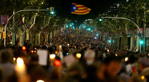 Thousands take to the streets of Barcelona to protest at jailing of separatist leaders