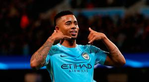 Manchester City's Gabriel Jesus celebrates scoring his side's second goal of the game during the UEFA Champions League group F match at The Etihad Stadium, Manchester. PRESS ASSOCIATION Photo. Picture date: Tuesday October 17, 2017. See PA story SOCCER Man City. Photo credit should read: Martin Rickett/PA Wire