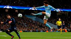 Manchester City's Leroy Sane takes a shot on goal. Photo: Reuters