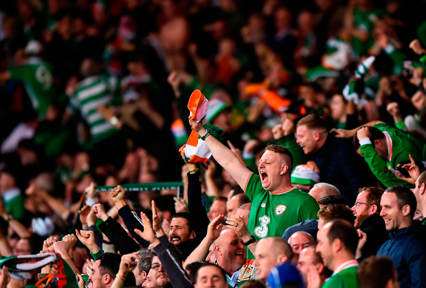 Irish fans, pictured celebrating James McClean's winner against Wales, will hope to take in the sights of the Danish capital Photo: Sportsfile