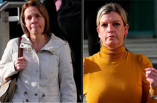 Amy Barrett and her sister Melissa O'Keeffe pictured leaving the Central Criminal Court in Dublin