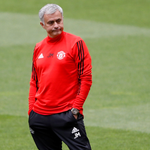 Jose Mourinho seems a bit glum during United training in Portugal
