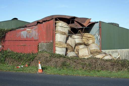 Damage to a barn in Carrigen, Co. Waterford caused by Hurricane Ophelia. Photo: Tony Gavin 17/9/2017