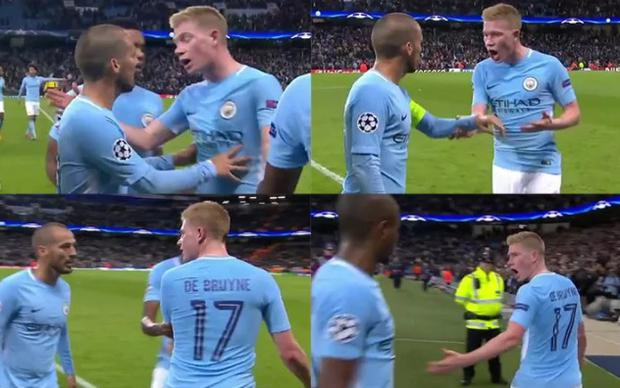 Silva and De Bruyne crossed paths at half time in Man City's Champions League win against Napoli