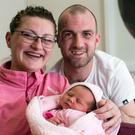 Sonya Burke and Colm O'Callaghan from Crosshaven with their new baby Maria (6lbs 15oz) who was born during hurricane Ophelia. Pic:Mark Condren