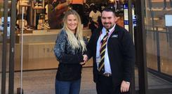 Mercury Security's Paul Telfer is congratulated by Store Manager , Saoirse O'Shea