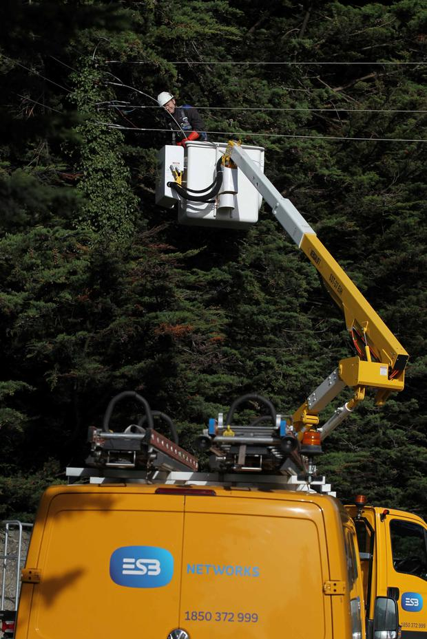 ESB crew attend electricity cables on N11, Co Wicklow yesterday Pic Stephen Collins/Collins Photos