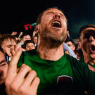 Alan Bennett celebrates after Cork City clinched the Airtricity League title. Photo: Stephen McCarthy/Sportsfile