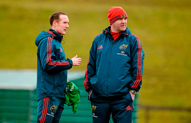 Ian Costello in discussion with Anthony Foley during Munster training in 2014 and, far left, on the sideline for Nottingham who play Munster 'A' tomorrow. Photo: Sportsfile