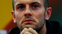 Arsenal's Jack Wilshere ahead of their Europa League match against Red Star, in Belgrade yesterday. Photo: Darko Vojinovic/AP