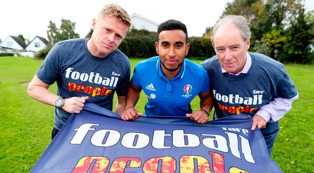 Former Irish international Damien Duff with Abdul Abdullah (Coach, Sport Against Racism Ireland) and SARI director Brian Kerr at an initiative to promote the social inclusion of marginalised groups. Photo:Maxwell Photography