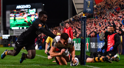 13 October 2017; Jacob Stockdale of Ulster goes over to score his side's first try despite the tackle from Christian Wade of Wasps during the European Rugby Champions Cup Pool 1 Round 1 match between Ulster and Wasps at Kingspan Stadium in Belfast. Photo by David Fitzgerald/Sportsfile